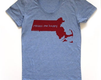 massachusetts shirt, boston tshirt, graphic t, state pride, woman fashion t, gray tshirt, screen print, silkscreen, free shipping