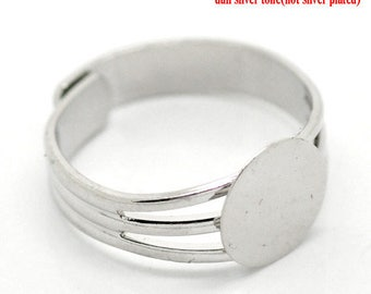 1 ring silver-colored 18 mm with 10 mm tray