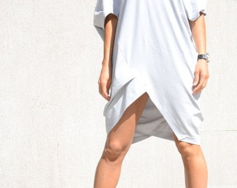 Tunic dress, loose maxi top, fitting dress, asymmetric cut, mid knee tunic, short sleeve with V neck dress, plus size women, cotton clothing