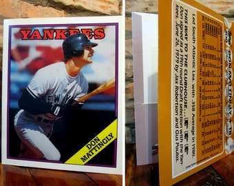 Vintage Yankees Baseball School Folder 80s MLB New York Yankees Don Mattingly Stats Topps Baseball Card Pocket Folder Yankees Memorabilia