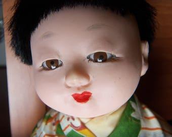 Japanese baby doll child boy silk kimono