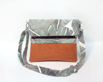 Borsa a tracolla, Fold over Pochette, tropicale borsa, borsa convertibile, Palm foglie tessuto borsa, Foldover Pochette, Pochette, Sac