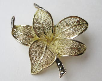 Vintage 30s Sterling Silver Gold Vermeil Marcasite Floral Pin Made in Germany