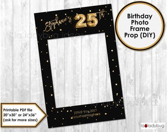 Birthday photo frame prop. 25th birthday photo prop. DIY PDF Printable file. Gold foil balloon birthday frame prop for selfie station.
