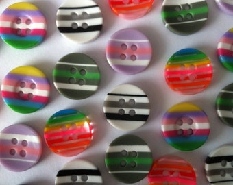30x 13mm round 4 hole stripe buttons in a variety of colours