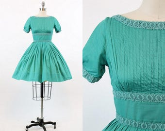 50s Dress Petite XXS / 1950s Vintage Cotton Dress Lace / The Yacht Club Dress