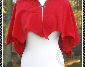 Little Red Riding Hood Capelet, Polar Fleece, Mantle, Wichy, Pagan, Elven, Fairy, Pixie Points, Boho, Alternative Fashion
