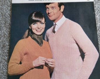 Vintage Robin No. 1718 Knitting Pattern For 'His & Hers' Panel Jumpers/Sweaters