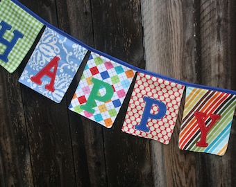Fabric Happy Birthday Banner/Bunting/Garland