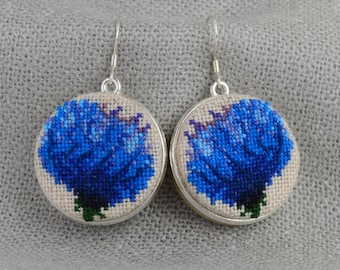 Embroidered earrings with blue flower, best gift for her, round earrings with cross stitch, double sided earrings with fabric