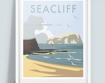 Seacliff Beach Travel Poster Print, Scottish coastline