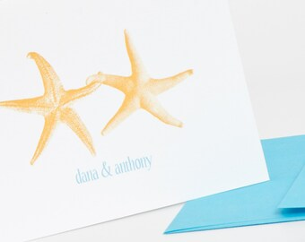 Starfish in Love Personalized Stationery Set (20) plus Matching Address Labels