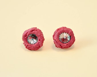 Soft silicone pink cyclamen stud earrings with Swarovski crystals