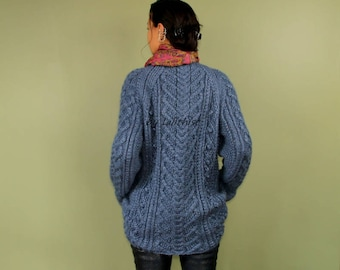 Knit Sweater Women, Wool Chunky Sweater, Blue Long Sweater, Turtleneck, Raglan, Winter, Thick, Cable Knit Sweater Cowl, Knit Pullover