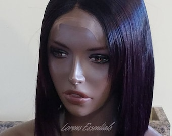 Human Hair  Handmade Full lace wig Plum Black Hair. Short bob  -READY TO SHIP