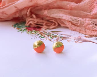 Polymer clay peach round earrings with gold leaf detail, studs, handmade
