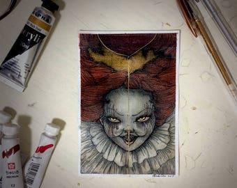 POSTCARD // IT fan-art watercolor painting// 4x6in(10x15cm) // Glow in the dark // Halloween Edition
