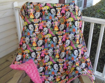 Large Sugar Skulls and  Pink Rosebud Minky Blanket MINKY COLOR CHOICE