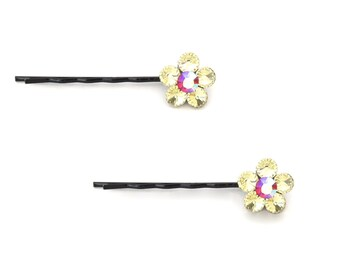 Crystal Cute Single Flower Bobby Pin PAIR Hair Clip Accessory Black Tone Pink AB Yellow