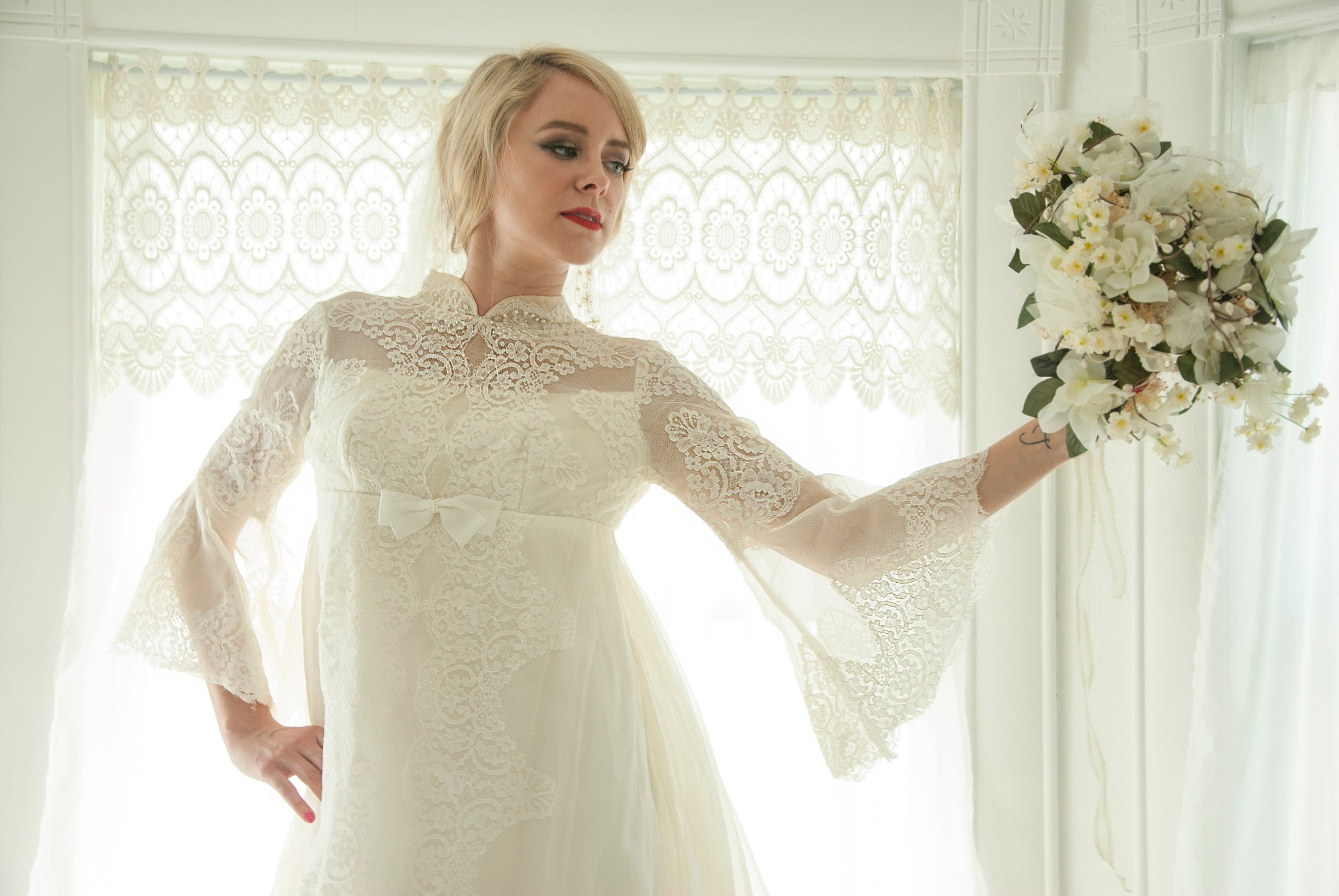Vintage bell sleeve wedding dress 1960s gown empire waist description bell sleeve wedding dress ombrellifo Image collections