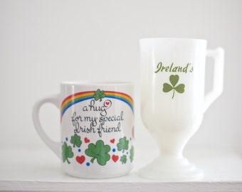 St. Patrick's Day Mugs   Set of Two Irish Mugs