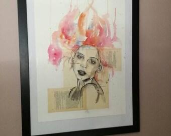 Gorgeous canvas watercolor woman novel page