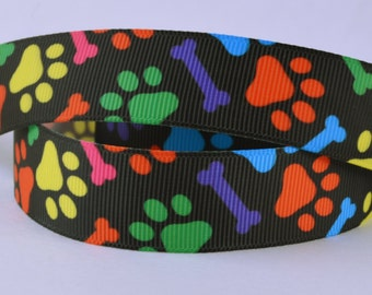 "Colorful Dog Puppy Paws Bones Printed Grosgrain Ribbon 5/8"" Scrapbooking HairBows CD32918"