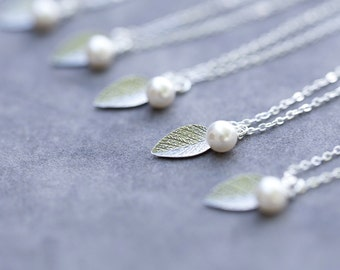 Bridesmaid Necklace Set of 6, Sterling Silver Leaves Bridal Party Jewelry, Swarovski Pearl, Bridesmaid Leaf Necklaces