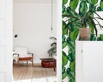 Large banana leaves temporary wallpaper, Banana leaves wall mural, Leaves wall decal, Banana leaves removable wallpaper, 288