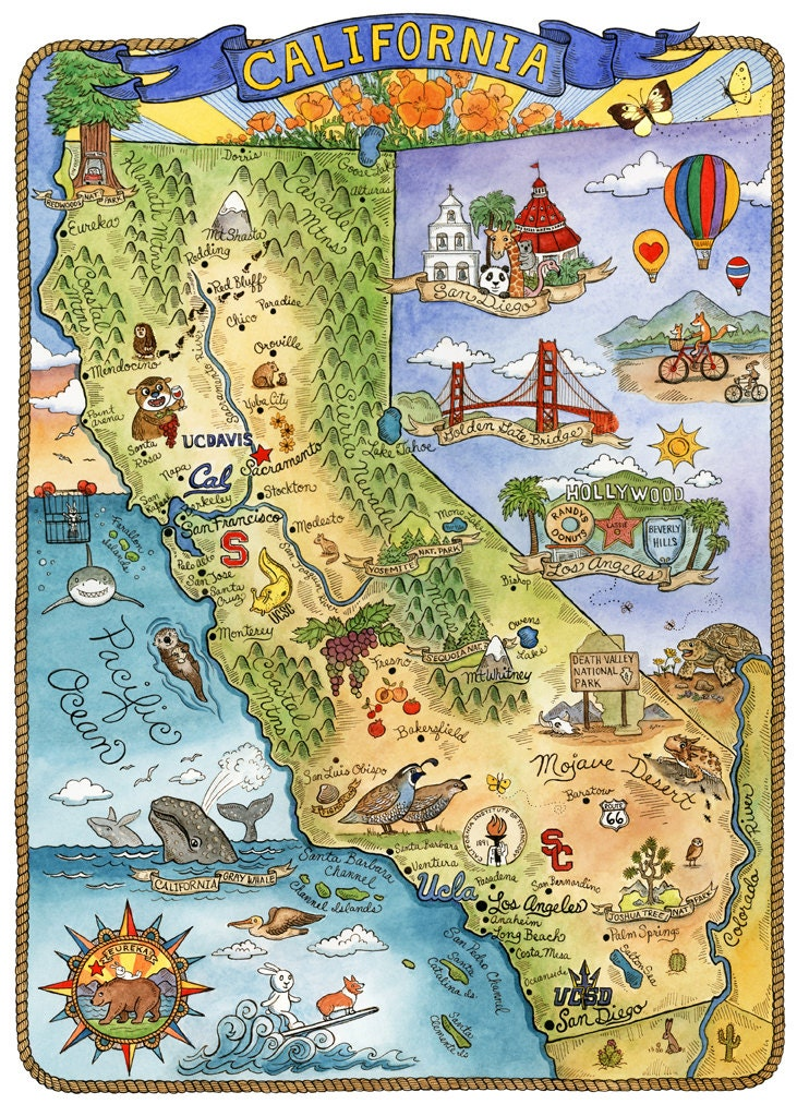It is a photo of Massif Printable Map of California
