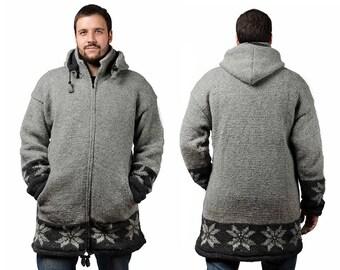 Mens Wool Hoodie, Hand Knit Wool Winter Coat - Long Length, Grey Snowflake - 1831Y