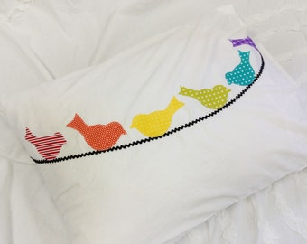 Rainbow Birds on a Wire Pillow Case