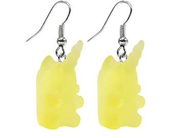 Unicorn Gummy Yellow Earrings (Fish Hook)