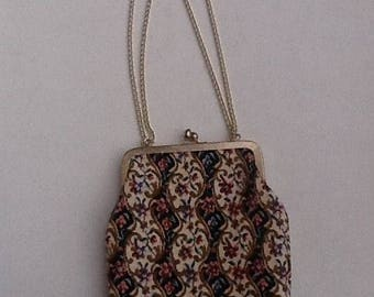 Vintage 50's Tapestry Purse / Etched Gold Tone Metal Framed Evening Bag /Tapestry Clutch