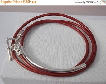 SPRINGSALE Red leather wrap bracelet, silver plated charm friendship bracelet,silver tube leather bracelet, girls friendship bracelet, BFF b