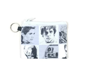 Star Wars Coin Purse, Mini Zipper Pouch, Coin Pouch, Earbud Holder, change Purse, bridesmaid gift, coin pouch keychain