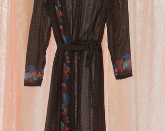Vintage Dress - Polka Dots and Birds 80s