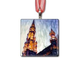 Grand Place - Brussels, Belgium - Handmade Glass Photo Ornament
