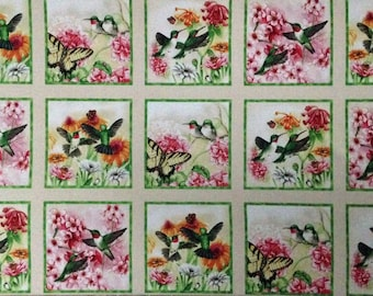 "Hummingbirds cotton panel -- approximately 23""x44"""