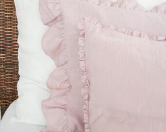 Linen Pillow Case with Wide Ruffles/ Pastel Pink Linen/ Softened Linen/Natural Linen/ Pillow Sham/Pillow Cover