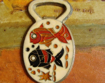 Vintage Enamel on Brass Fish Bottle Opener, 1970s Cloisonne, Pisces, Fisherman's Helper, Man Cave Accessory, Mediterranean souvenir