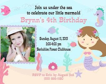 Mermaid Birthday Invitation , Mermaid Under the Sea , Mermaid Birthday Invitation Photo , Mermaid Birthday