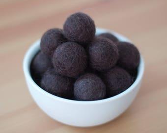 Dark Chocolate Wool Felt Pom Pom Balls set of 12