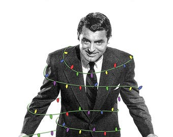 May your days be Cary and bright // set of 5 Cary Grant christmas cards