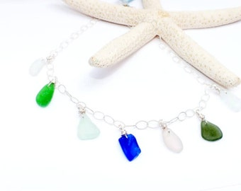 Sea Glass Necklace, Sterling Necklace, Lake Jewelry, Beach Necklace, Gift for Mom, Sea Glass, Seaglass, Sea Glass Gift