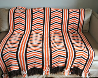 Vintage Crochet Afghan, 1970's Orange/Brown/ White Striped Knit Throw, Groovy Granny Crochet Lap Blanket Throw