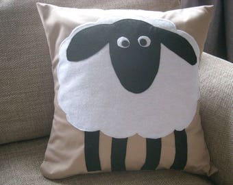 Sheep Cushion Cover- Fawn background with felt sheep