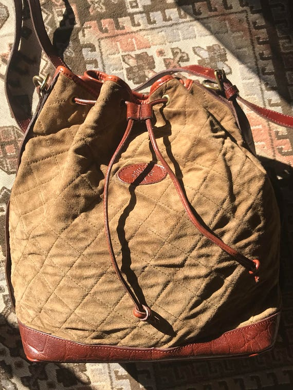 d07880f85f ... official store vintage mulberry brown khaki quilted suede leather  bucket hobo bag with brown croc embossed