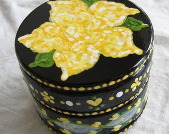 Hand Painted Love Boxes Yellow Rose Box Wood
