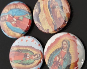 """4 Virgen De Guadalupe 1"""" Buttons/Pinbacks/Badges Virgin of Guadalupe Mexican Mexico Latino Catholic Rare Vintage Retro New"""